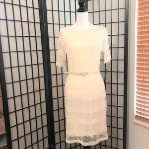 NWT  Sharagano Lace Crochet slip belted dress